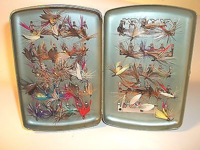 Fisherman/anglers -- 40 Hand Tied Trout Flies In Vintage Box