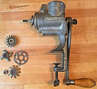 "Cast Iron w/ Wood Handle Universal ""71"" Meat Grinder with Accessories"