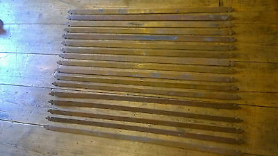 Reclaimed Set Of 17 Brass Fleur De Lis Stair Rods Trefoil Clover Edwardian 26""
