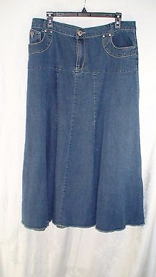 Vintage 70's Country Boho Hippy Jean Skirt Women's Size L