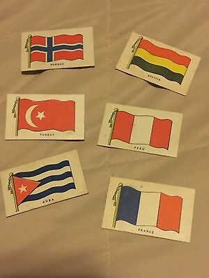 6 vintage 1939, small cardboard flags of world from Wilbur Chocolate bars