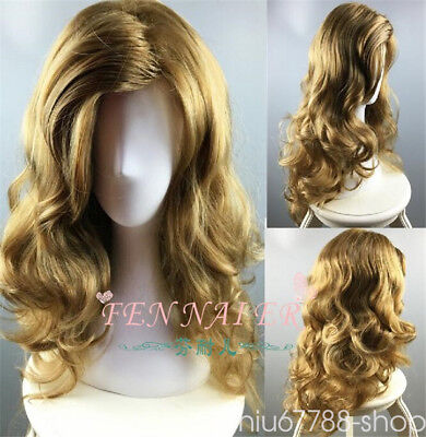 New Wavy Curly dark Blonde Party Hair Full Cosplay Heat Resistant Long Wig/Wigs