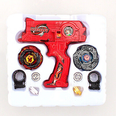 4D Beyblade Lot Top Metal Masters Fusion Rapidity Rip Cord Launcher Toy Gift Red