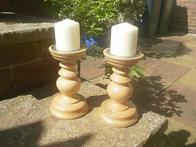 2 turned wood pillar candle candlesticks with candles, solid wood holders