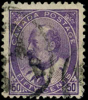 Canada #95 used F 1908 King Edward VII 50c purple CV $60.00