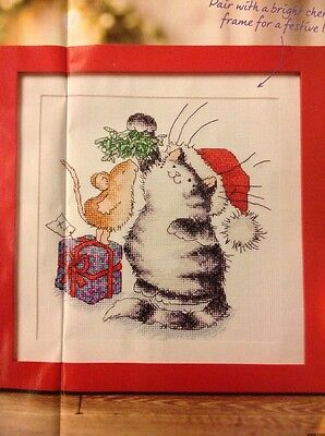 (X2) Margaret Sherry Cat And Mouse Mistletoe Kisses Christmas Cross Stitch Chart