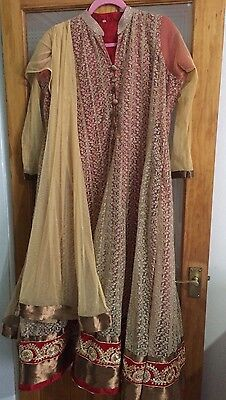 Pakistani Churidaar Kameez Asian wedding Dress Party Suit Eid Red Size 44 Large