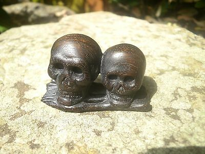 Carved iron wood netsuke skulls with bones, vintage / Antique style figurine