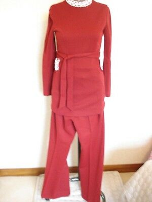 70's THREE PIECE SUIT SIZE 12 RED TROUSER JACKET