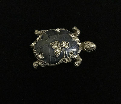 Blue Enamel and Crystal Turtle Brooch/Pin by Catherine Popesco