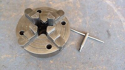 "Vintage Cushman 6 1/8"""" 4 Jaw Lathe Chuck 1"" - 10 TPI with Key"