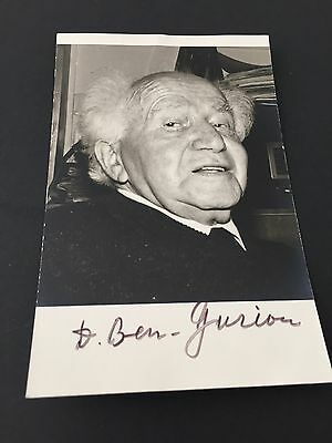 DAVID BEN-GURION († 1973)  1. Präsident Israel signed Photo 9 x 14 Autogramm RAR