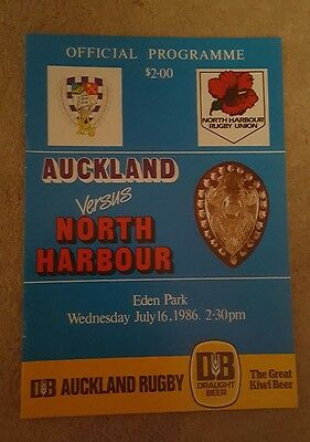Auckland v North Harbour 1986 rugby programme