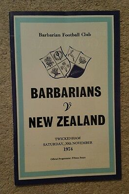 Barbarians v New Zealand 1974 rugby union programme