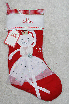 Pottery Barn Kids Quilted Christmas Stocking Dancing Kitty Cat Ballerina Mom PBK