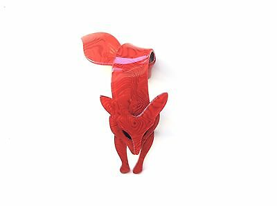 Dazzling Rich Red Color Resin Marblized Lea Stein Fox With Black Eyes