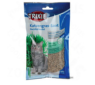 TRIXIE CAT KITTEN GRASS REFILL POUCH GRAIN SEED GROW AT HOME DIGESTIVE AID 100g