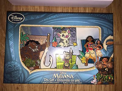 Official Disney Store Moana Limited Edition LE 1000 4 Pin Set, Brand New