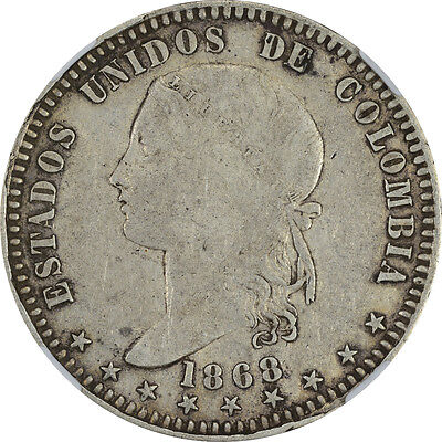 1868 Colombia NGC VF-25 Bust Type Peso - Bogota