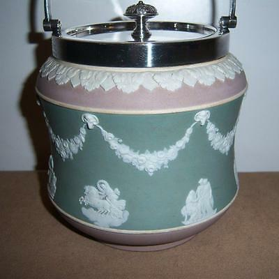 Wedgwood Tri-Coloured Jasper Ware Biscuit Barrel With Mappin & Webb Silver Plate
