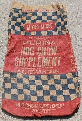 Vintage Cotton  PURINA Hog Mix Supplement - Checker Board Feed Sack