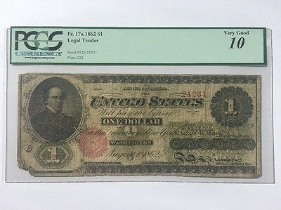 1862 $1 One Dollar Bill United States Legal Tender Large Note - PCGS VG 10