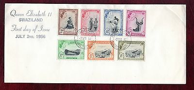 SWAZILAND STAMPS- QEII definitives up to 1/s , 1956 FDC