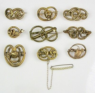 Collection Victorian Love Knot Pins Chasing  Each Unique  Top Quality Lot O