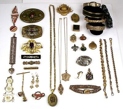 Lg Collection Victorian GF SS Pins Necklaces Bracelets Charms Earrings Lot R