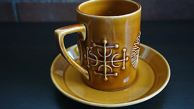 VINTAGE Portmeirion Totem Coffee Cups & Saucers x 5 - VGC FREE POSTAGE