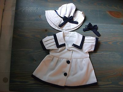 New Handmade Dress For- Bitty Baby Or Twins Girl, Navy Nautical White And Blue