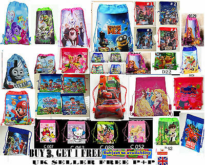 New kids boys girls Childrens drawstring shoe bag school,PE,toy,sports,GYM,SWIM