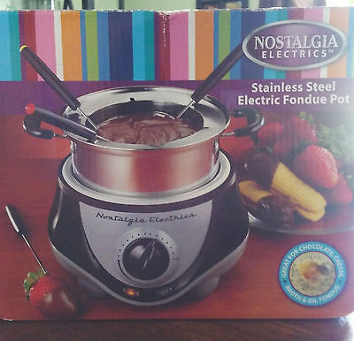 Nostalgia FPS200 6-Cup Stainless Steel Electric Fondue Pot-new in box