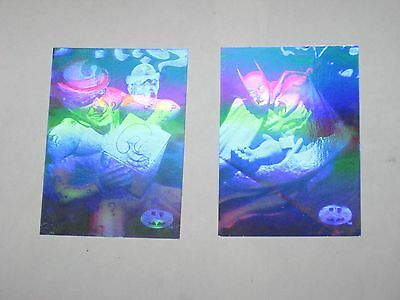 1996 Batman Holo Series SILVER HOLOACTION Chase INSERT 2 Card LOT RIDDLER H2 H3!