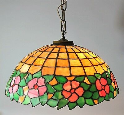 Fine UNIQUE or HANDEL Stained Leaded Art Glass Ceiling Shade  c. 1920  antique