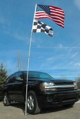Tailgaters Package 14-Foot Portable Retractable Flagpole Tire Wheel Mount Flag