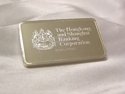 Solid Silver Ingot Hong Kong Shanghai Banking Famous Bank Of The World
