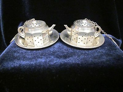 Set of 2 vintage sterling silver teapot infusers