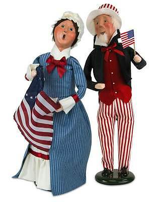 """set of 2 Byers Choice 4th of July PATRIOTIC w/ American Flag 13"""" Doll Figurine"""