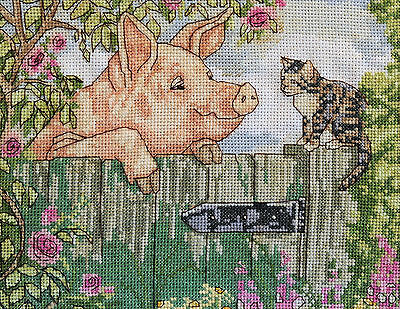 Country Retro - Fabulous Cross Stitch - Framed Cat With Pig
