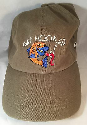 Doug's Fish Fry GET HOOKED Ball Cap Hat UNWORN Olive Green