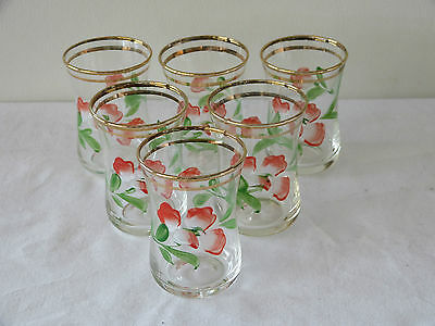 Mint Condition! Stunning Set Of 6 Bohemia Hand Painted Shot Glasses!