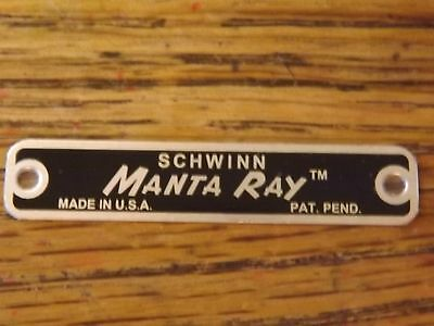 SCHWINN MANTA RAY SEAT TAG NOS MINT & 2 RIVETS CORRECT SUPER RARE no KRATE DISC