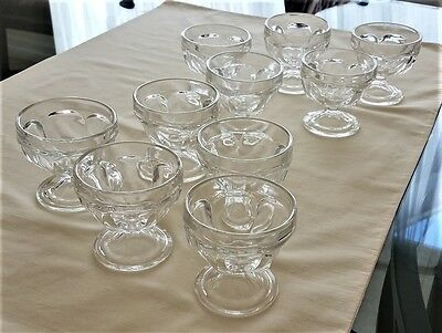 Vintage FEDERAL *Clear Glass* Footed Paneled Ice Cream Cup Dishes