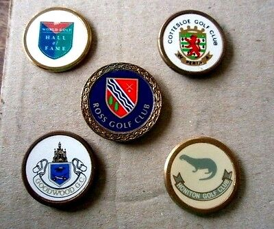 5 Metal Stem Type  Golf Ball Markers Inc. World Golf Hall Of Fame, Official Logo