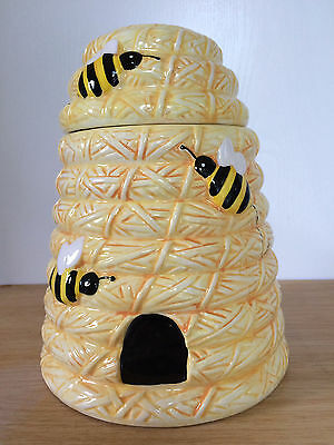 Beehive Honeycomb Decorative Cookie Jar Yellow Bees Hand Painted Pier 1 Import