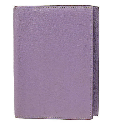 Authentic HERMES Logos Agenda Day Planner Note Cover Leather Purple 07A147