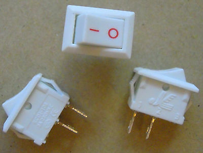 5x Mini Rocker Switch 3A 250V 3 Pin 15*10.5 mm White