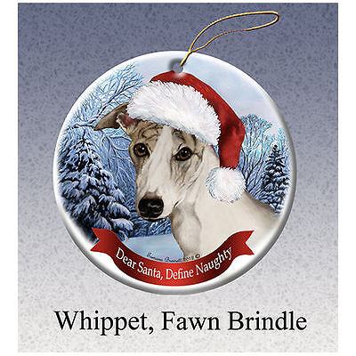 Whippet Tan Howliday Porcelain China Dog Christmas Ornament