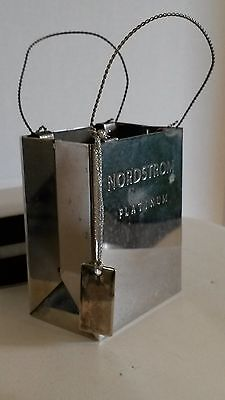 "Small Vntg ""Nordstrom Platinum"" Silver-Plate Hard Metal Gift Bag Jewelry Holder"